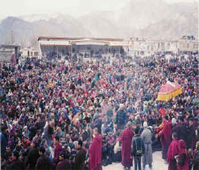 Giving initiation in Ladakh, during winter