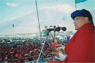 Giving teaching in Zanskar