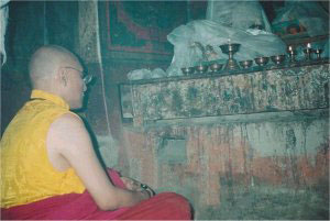 Meditating in the cave of Naropa